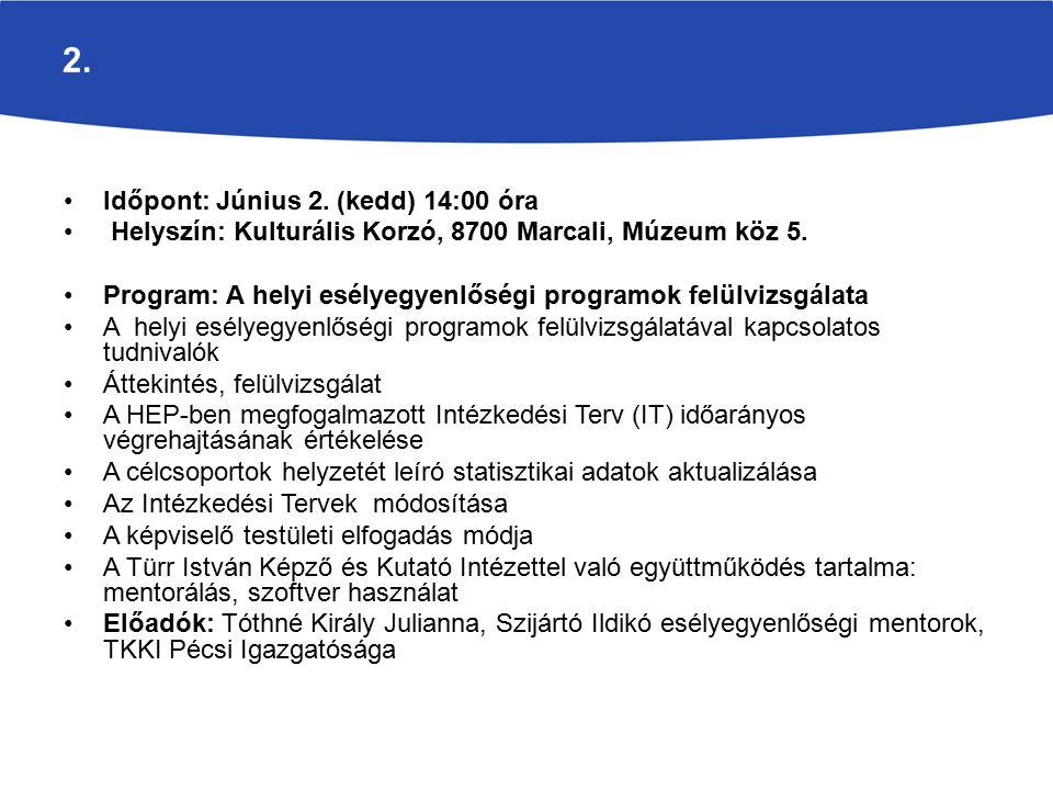 2. Időpont: Június 2. (kedd) 14:00 óra Helyszín: Kulturális Korzó, 8700 Marcali, Múzeum köz 5.
