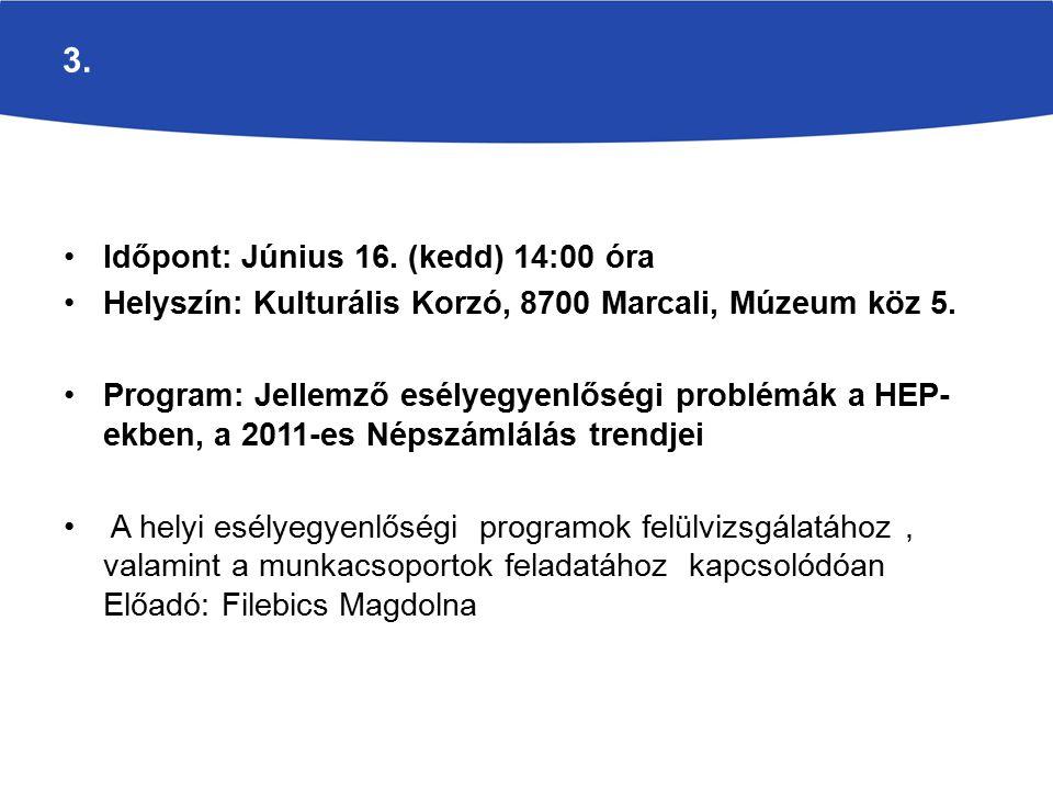 3. Időpont: Június 16. (kedd) 14:00 óra Helyszín: Kulturális Korzó, 8700 Marcali, Múzeum köz 5.