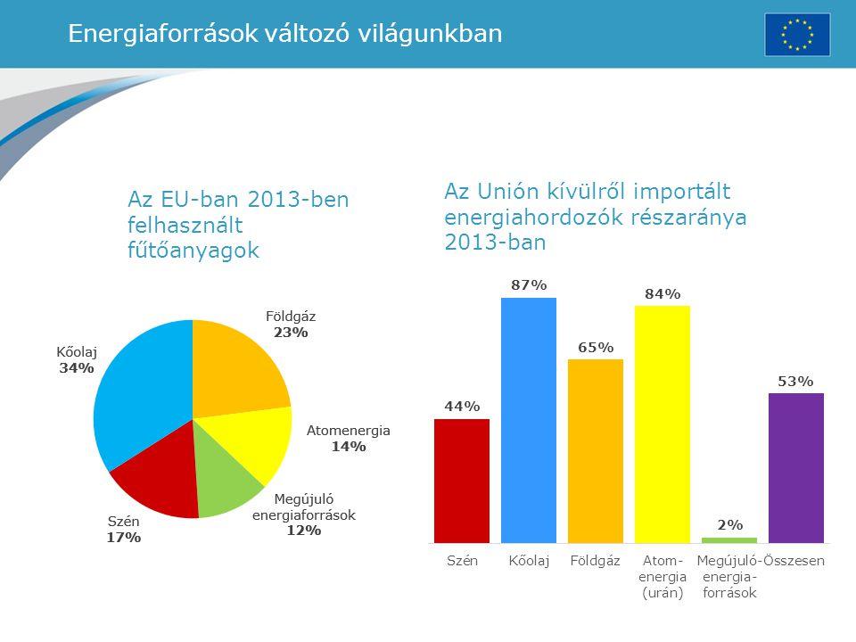 Energiaforrások változó világunkban Az EU-ban 2013-ben felhasznált fűtőanyagok Az Unión kívülről importált energiahordozók részaránya 2013-ban