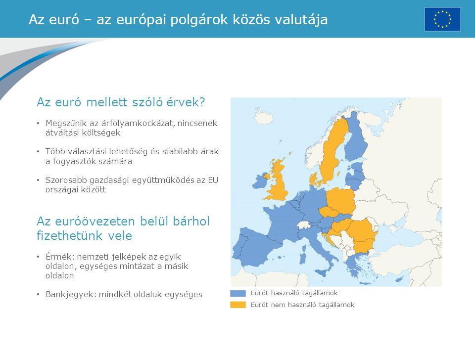 Az euró – az európai polgárok közös valutája Eurót használó tagállamok Eurót nem használó tagállamok Az euró mellett szóló érvek? Megszűnik az árfolya