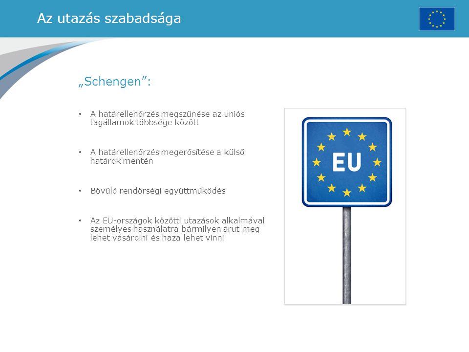 """Az utazás szabadsága """"Schengen"""": A határellenőrzés megszűnése az uniós tagállamok többsége között A határellenőrzés megerősítése a külső határok menté"""