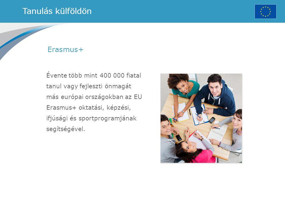 Tanulás külföldön Erasmus+ Évente több mint 400 000 fiatal tanul vagy fejleszti önmagát más európai országokban az EU Erasmus+ oktatási, képzési, ifjú