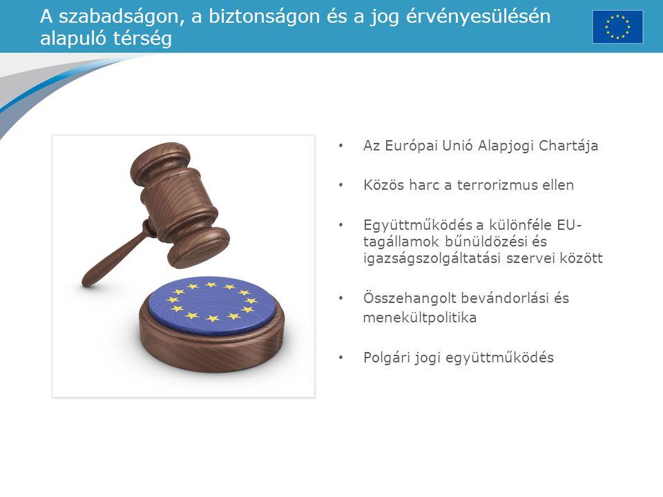 A szabadságon, a biztonságon és a jog érvényesülésén alapuló térség Az Európai Unió Alapjogi Chartája Közös harc a terrorizmus ellen Együttműködés a k