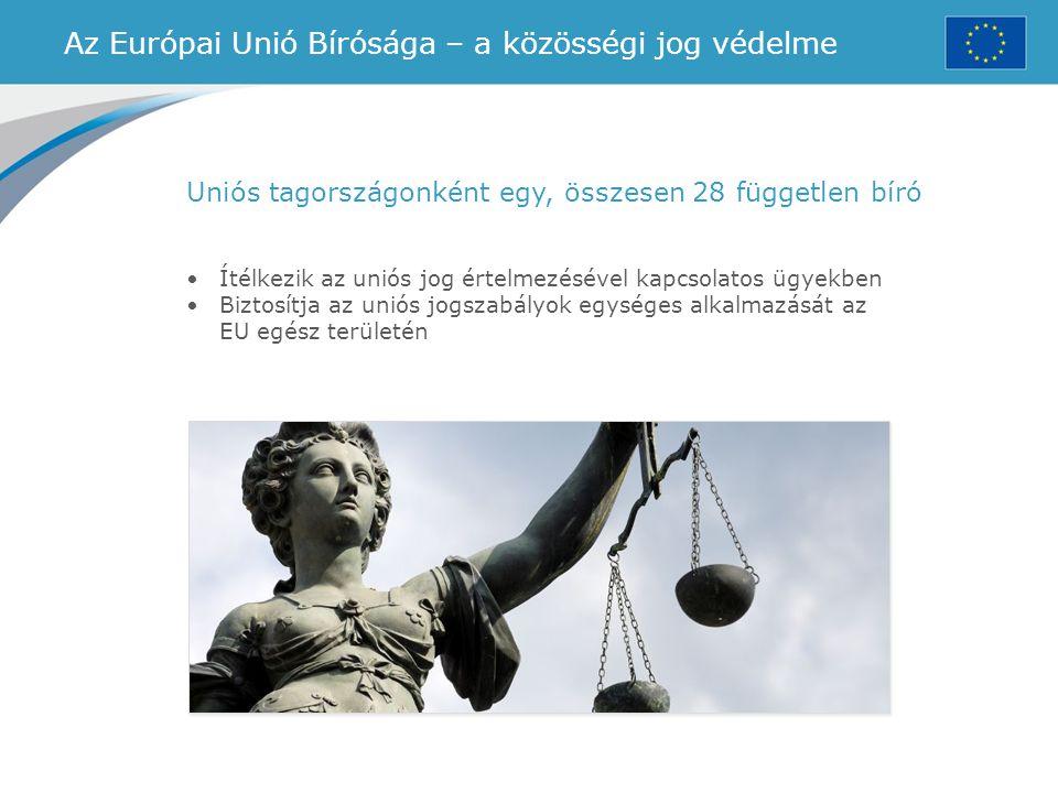 Az Európai Unió Bírósága – a közösségi jog védelme Uniós tagországonként egy, összesen 28 független bíró Ítélkezik az uniós jog értelmezésével kapcsol