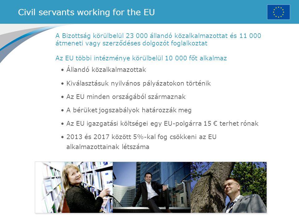 Civil servants working for the EU A Bizottság körülbelül 23 000 állandó közalkalmazottat és 11 000 átmeneti vagy szerződéses dolgozót foglalkoztat Az