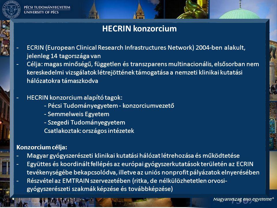 HECRIN konzorcium -ECRIN (European Clinical Research Infrastructures Network) 2004-ben alakult, jelenleg 14 tagországa van -Célja: magas minőségű, független és transzparens multinacionális, elsősorban nem kereskedelmi vizsgálatok létrejöttének támogatása a nemzeti klinikai kutatási hálózatokra támaszkodva -HECRIN konzorcium alapító tagok: - Pécsi Tudományegyetem - konzorciumvezető - Semmelweis Egyetem - Szegedi Tudományegyetem Csatlakoztak: országos intézetek Konzorcium célja: -Magyar gyógyszerészeti klinikai kutatási hálózat létrehozása és működtetése -Együttes és koordinált fellépés az európai gyógyszerkutatások területén az ECRIN tevékenységébe bekapcsolódva, illetve az uniós nonprofit pályázatok elnyerésében -Részvétel az EMTRAIN szervezetében (ritka, de nélkülözhetetlen orvosi- gyógyszerészeti szakmák képzése és továbbképzése)