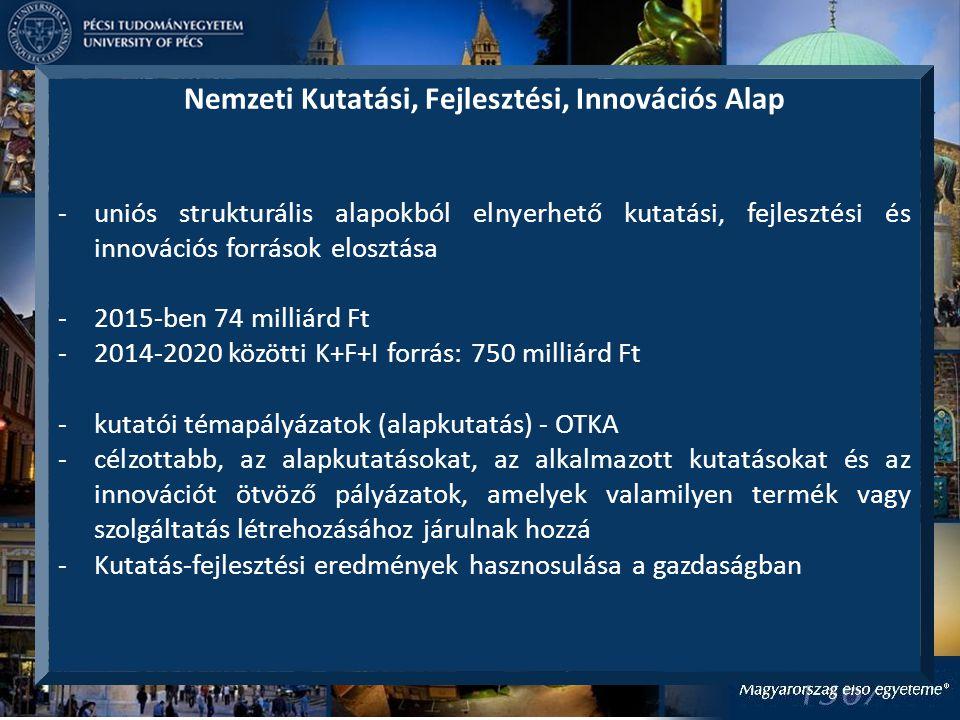 Nemzeti Kutatási, Fejlesztési, Innovációs Alap -uniós strukturális alapokból elnyerhető kutatási, fejlesztési és innovációs források elosztása -2015-ben 74 milliárd Ft -2014-2020 közötti K+F+I forrás: 750 milliárd Ft -kutatói témapályázatok (alapkutatás) - OTKA -célzottabb, az alapkutatásokat, az alkalmazott kutatásokat és az innovációt ötvöző pályázatok, amelyek valamilyen termék vagy szolgáltatás létrehozásához járulnak hozzá -Kutatás-fejlesztési eredmények hasznosulása a gazdaságban