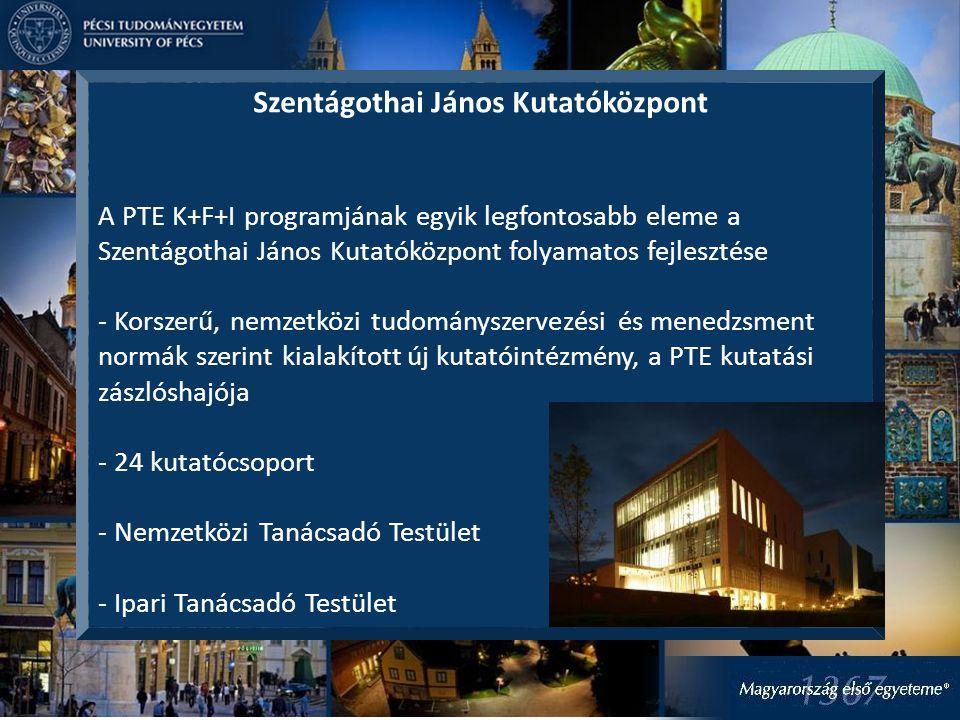 Szentágothai János Kutatóközpont A PTE K+F+I programjának egyik legfontosabb eleme a Szentágothai János Kutatóközpont folyamatos fejlesztése - Korszer