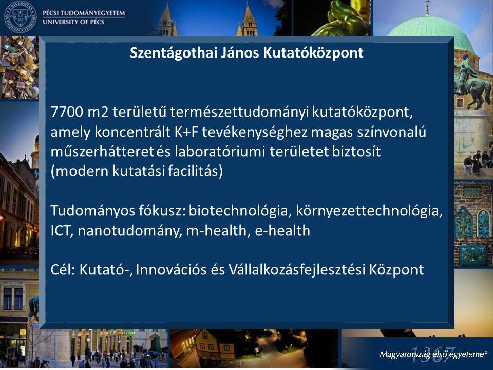 Szentágothai János Kutatóközpont 7700 m2 területű természettudományi kutatóközpont, amely koncentrált K+F tevékenységhez magas színvonalú műszerhátteret és laboratóriumi területet biztosít (modern kutatási facilitás) Tudományos fókusz: biotechnológia, környezettechnológia, ICT, nanotudomány, m-health, e-health Cél: Kutató-, Innovációs és Vállalkozásfejlesztési Központ