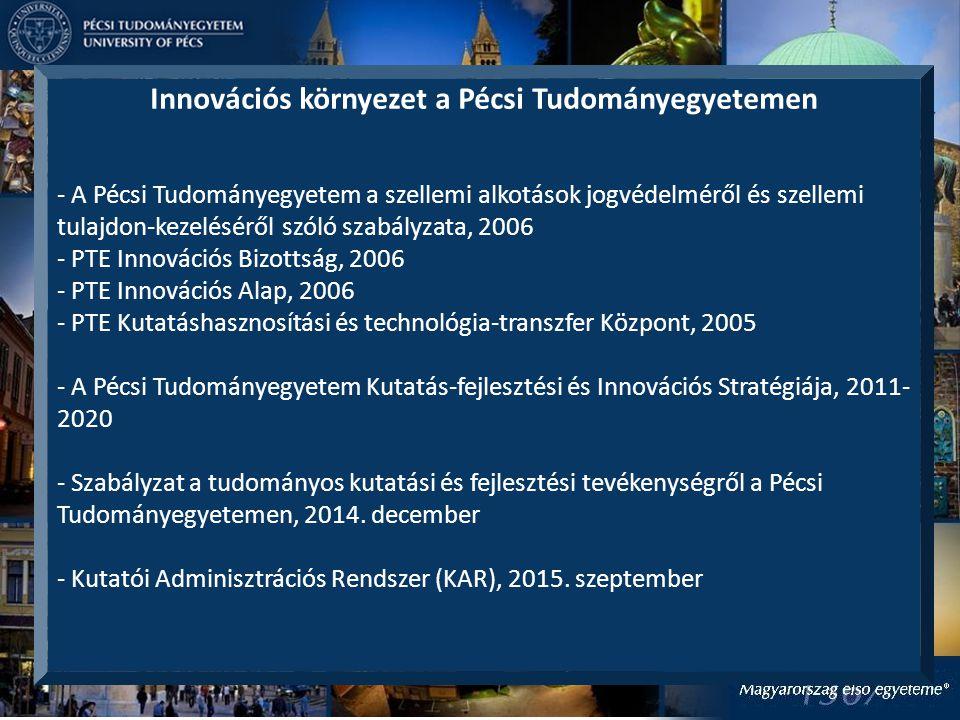 Innovációs eredmények a Pécsi Tudományegyetemen - 87 szellemi termék alkotja a PTE portfóliót - 111 szabadalmi bejelentés (91 nemzeti vagy regionális bejelentés, 20 PCT (nemzetközi) bejelentés) - 22 megadott szabadalom - 16 megvalósult egyetemi innováció, technológia transzfer (licenc, spin-off keretében) - Tudástérkép - Szolgáltatási és facility portfolió