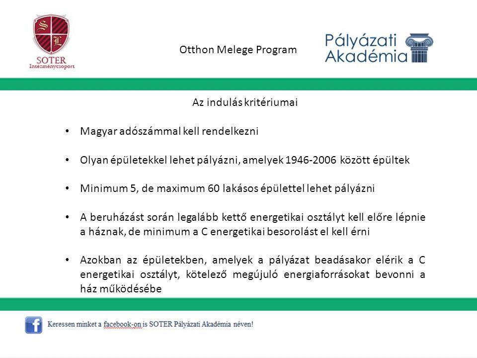 Otthon Melege Program Az indulás kritériumai Magyar adószámmal kell rendelkezni Olyan épületekkel lehet pályázni, amelyek 1946-2006 között épültek Min