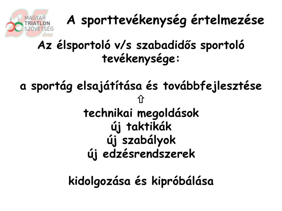 Az élsportoló v/s szabadidős sportoló tevékenysége: folyamatos teljesítménynövelés csúcsteljesítmények túlszárnyalása A sporttevékenység értelmezése