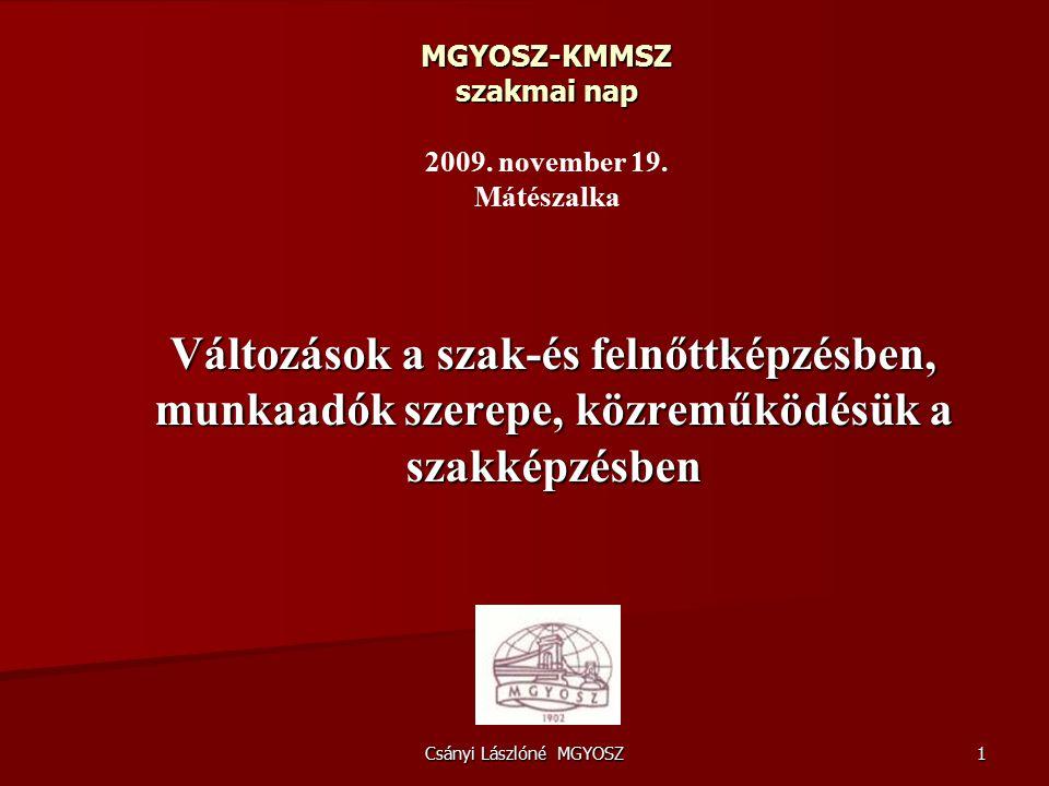 Csányi Lászlóné MGYOSZ 1 MGYOSZ-KMMSZ szakmai nap MGYOSZ-KMMSZ szakmai nap 2009.