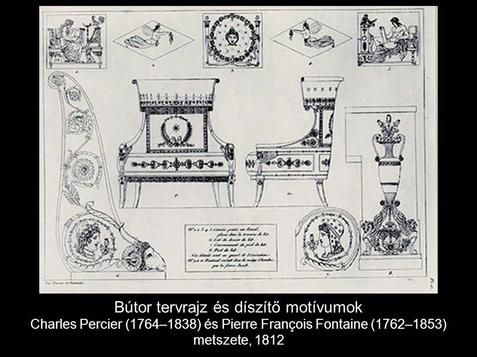 Bútor tervrajz és díszítő motívumok Charles Percier (1764–1838) és Pierre François Fontaine (1762–1853) metszete, 1812