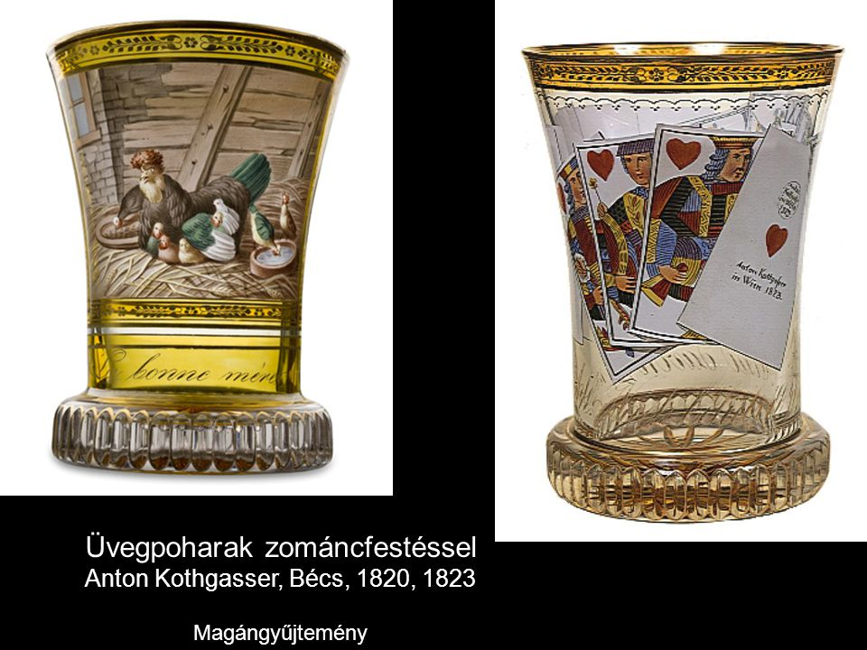 Üvegpoharak zománcfestéssel Anton Kothgasser, Bécs, 1820, 1823 Magángyűjtemény