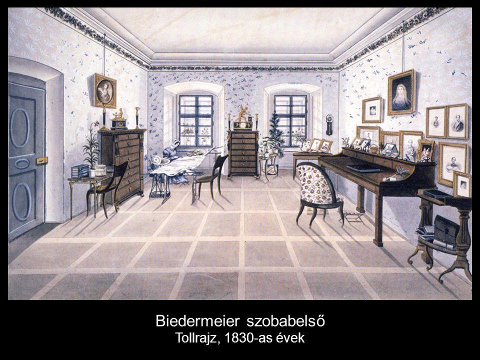 Biedermeier szobabelső Tollrajz, 1830-as évek