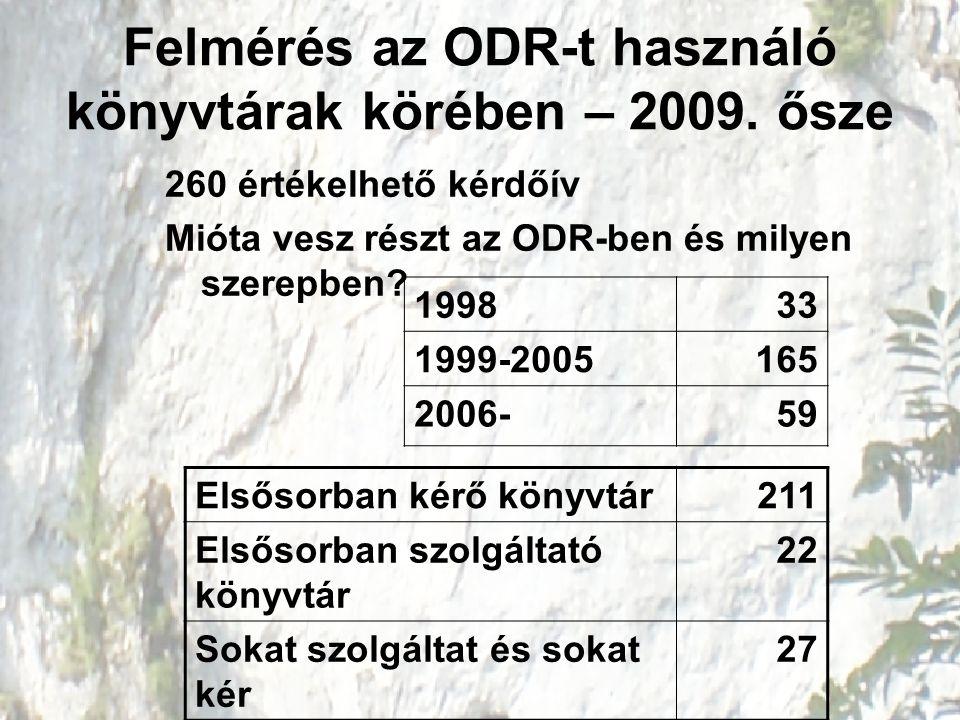 Felmérés az ODR-t használó könyvtárak körében – 2009. ősze 260 értékelhető kérdőív Mióta vesz részt az ODR-ben és milyen szerepben? 199833 1999-200516