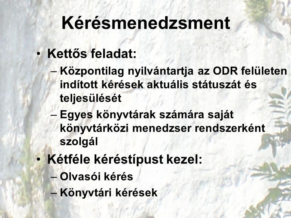 Kérésmenedzsment Kettős feladat: –Központilag nyilvántartja az ODR felületen indított kérések aktuális státuszát és teljesülését –Egyes könyvtárak szá
