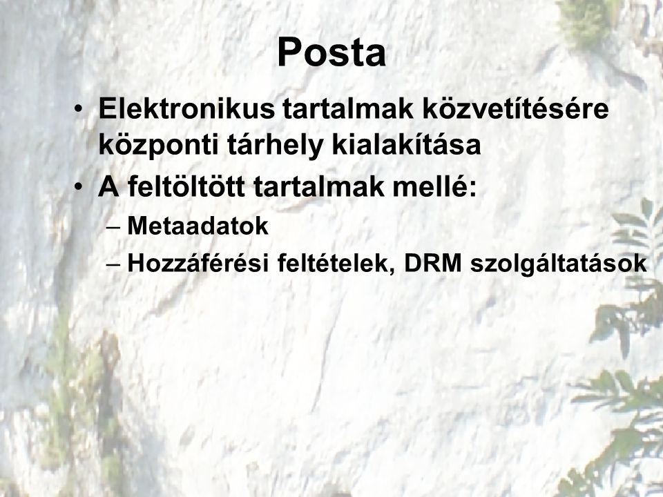 Posta Elektronikus tartalmak közvetítésére központi tárhely kialakítása A feltöltött tartalmak mellé: –Metaadatok –Hozzáférési feltételek, DRM szolgáltatások