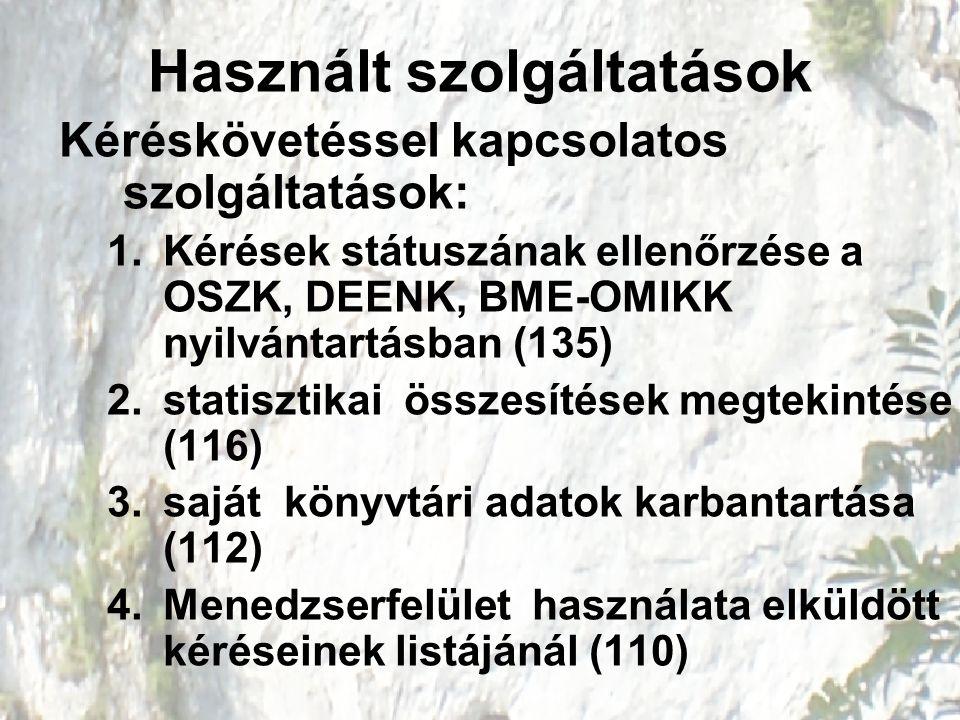 Használt szolgáltatások Kéréskövetéssel kapcsolatos szolgáltatások: 1.Kérések státuszának ellenőrzése a OSZK, DEENK, BME-OMIKK nyilvántartásban (135)