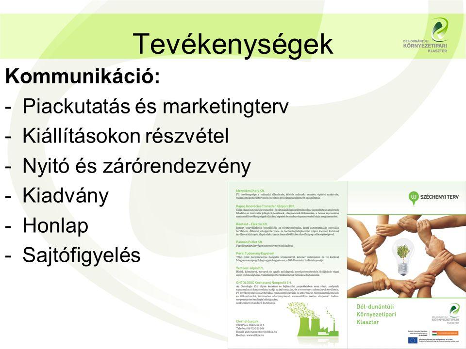 Tevékenységek Kommunikáció: -Piackutatás és marketingterv -Kiállításokon részvétel -Nyitó és zárórendezvény -Kiadvány -Honlap -Sajtófigyelés