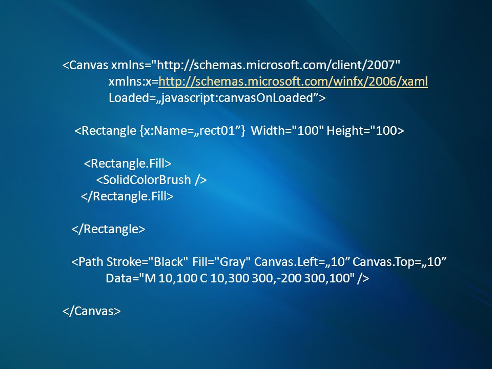 "<Canvas xmlns= http://schemas.microsoft.com/client/2007 xmlns:x= http://schemas.microsoft.com/winfx/2006/xaml Width= 200 Height= 200 Background= LimeGreen > <Ellipse Canvas.Left= 30 Canvas.Top= 30 Height= 200 Width= 200 Stroke= Black"" StrokeThickness= 10 Fill= SlateBlue />..."