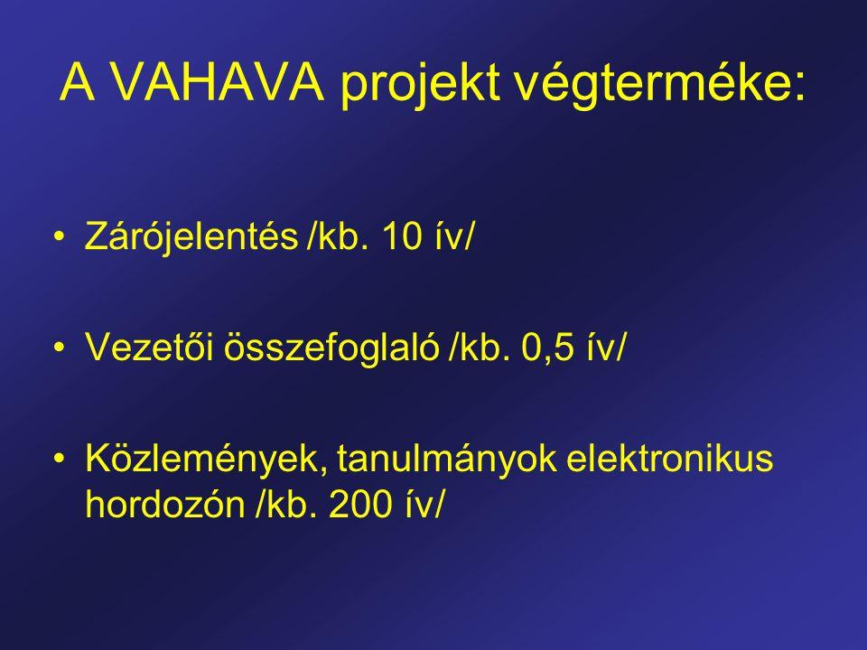 A VAHAVA projekt végterméke: Zárójelentés /kb. 10 ív/ Vezetői összefoglaló /kb.