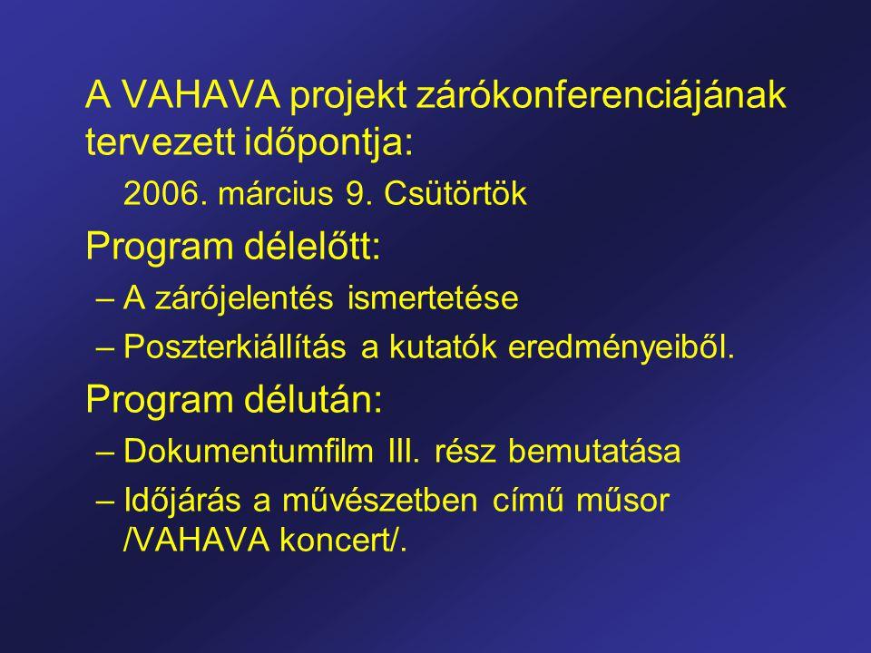 A VAHAVA projekt zárókonferenciájának tervezett időpontja: 2006.