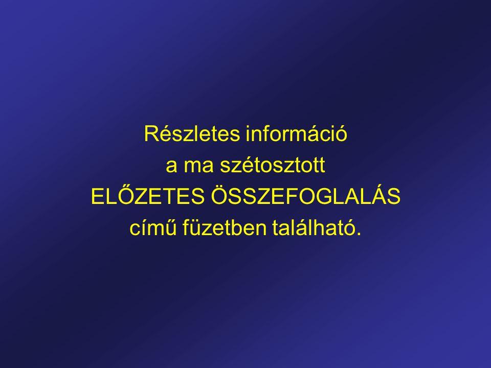 Részletes információ a ma szétosztott ELŐZETES ÖSSZEFOGLALÁS című füzetben található.