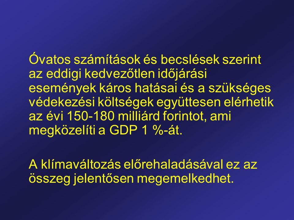 Óvatos számítások és becslések szerint az eddigi kedvezőtlen időjárási események káros hatásai és a szükséges védekezési költségek együttesen elérhetik az évi 150-180 milliárd forintot, ami megközelíti a GDP 1 %-át.