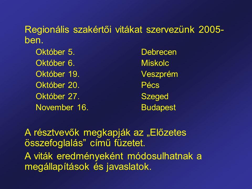 Regionális szakértői vitákat szervezünk 2005- ben.