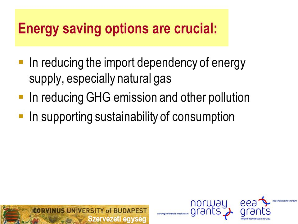 Szervezeti egység Energy saving options are crucial:  In reducing the import dependency of energy supply, especially natural gas  In reducing GHG emission and other pollution  In supporting sustainability of consumption