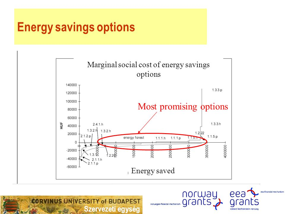 Szervezeti egység Energy savings options Most promising options Energy saved Marginal social cost of energy savings options
