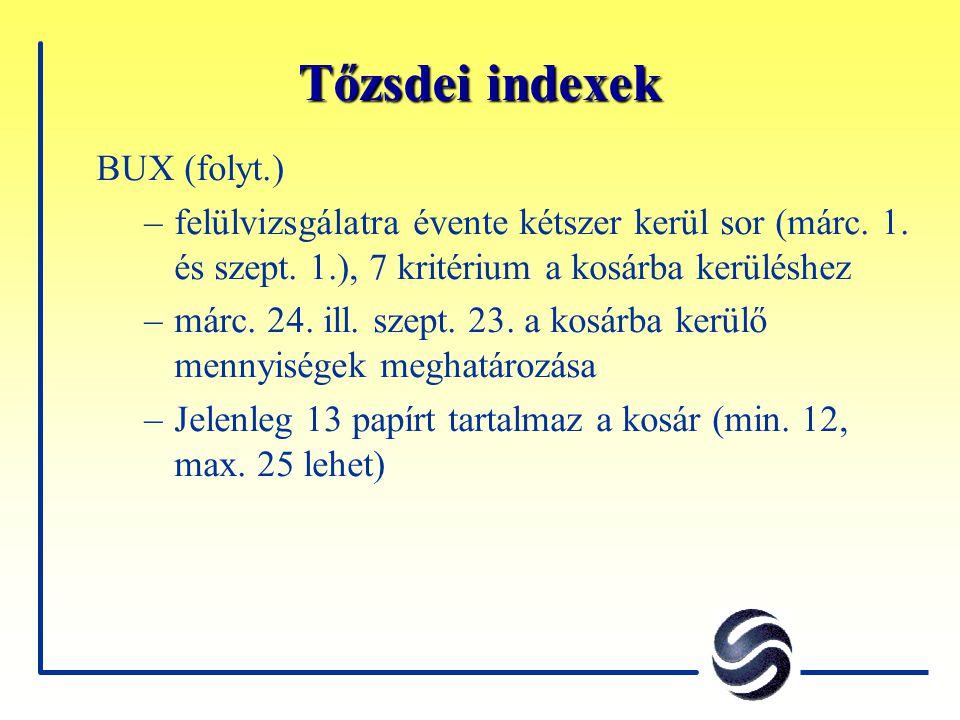 Tőzsdei indexek BUX (folyt.) –felülvizsgálatra évente kétszer kerül sor (márc. 1. és szept. 1.), 7 kritérium a kosárba kerüléshez –márc. 24. ill. szep