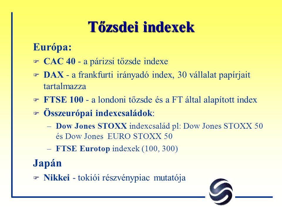 Tőzsdei indexek Európa: F CAC 40 - a párizsi tőzsde indexe F DAX - a frankfurti irányadó index, 30 vállalat papírjait tartalmazza F FTSE 100 - a londo