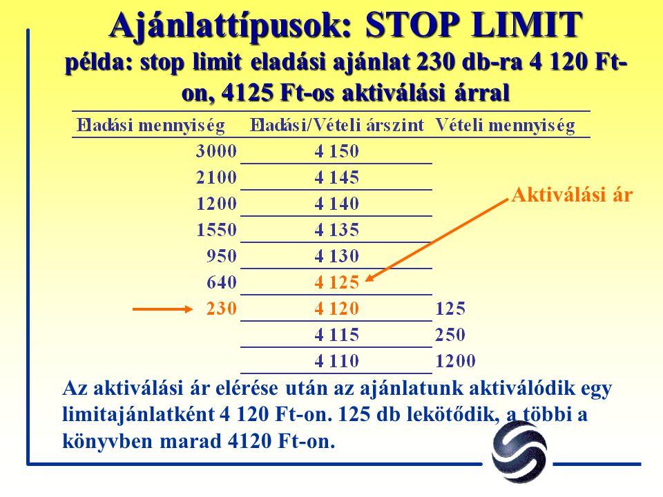 Ajánlattípusok: STOP LIMIT példa: stop limit eladási ajánlat 230 db-ra 4 120 Ft- on, 4125 Ft-os aktiválási árral Az aktiválási ár elérése után az aján