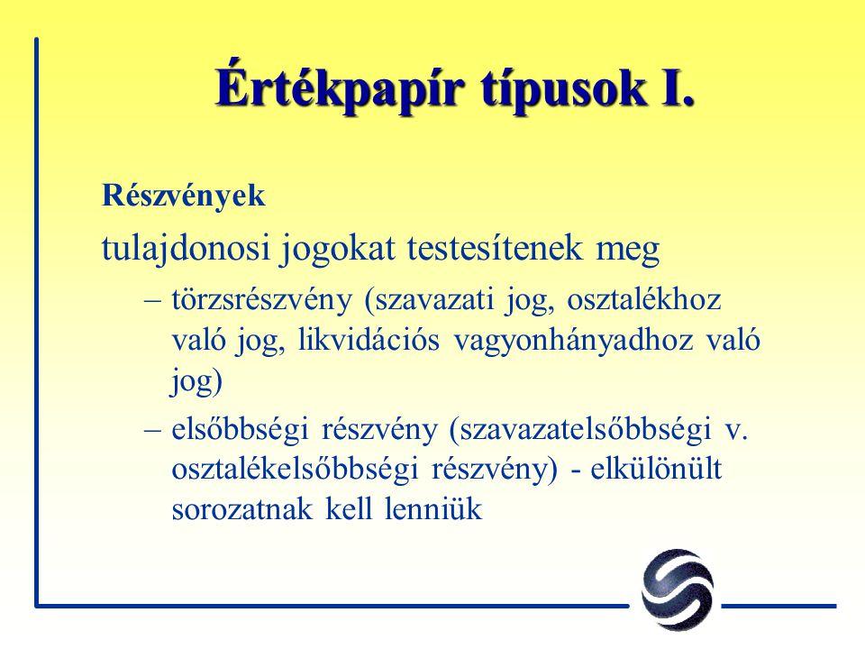 Értékpapír típusok II.