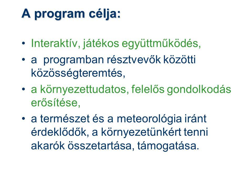 A program célja: Interaktív, játékos együttműködés, a programban résztvevők közötti közösségteremtés, a környezettudatos, felelős gondolkodás erősítés