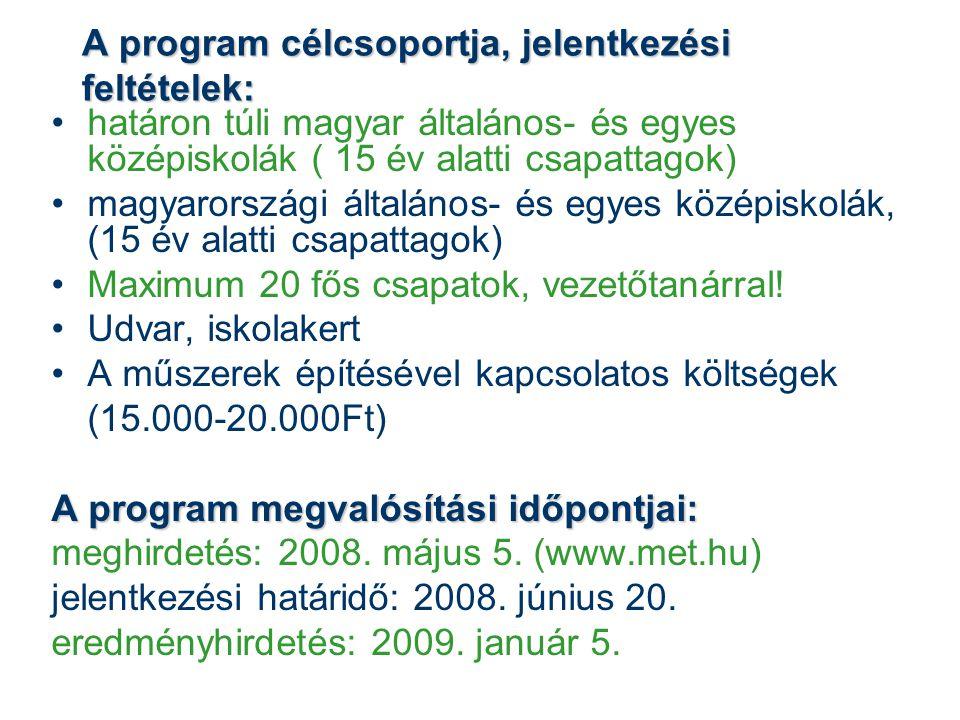 A program célcsoportja, jelentkezési feltételek: határon túli magyar általános- és egyes középiskolák ( 15 év alatti csapattagok) magyarországi általános- és egyes középiskolák, (15 év alatti csapattagok) Maximum 20 fős csapatok, vezetőtanárral.