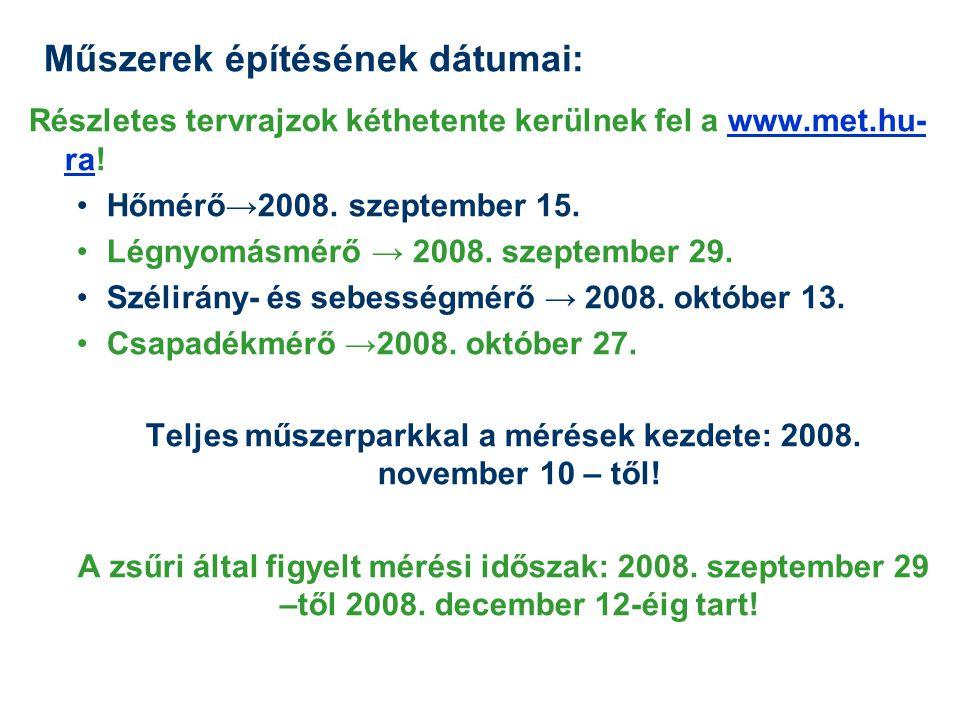 Műszerek építésének dátumai: Részletes tervrajzok kéthetente kerülnek fel a www.met.hu- ra!www.met.hu- ra Hőmérő→2008. szeptember 15. Légnyomásmérő →2