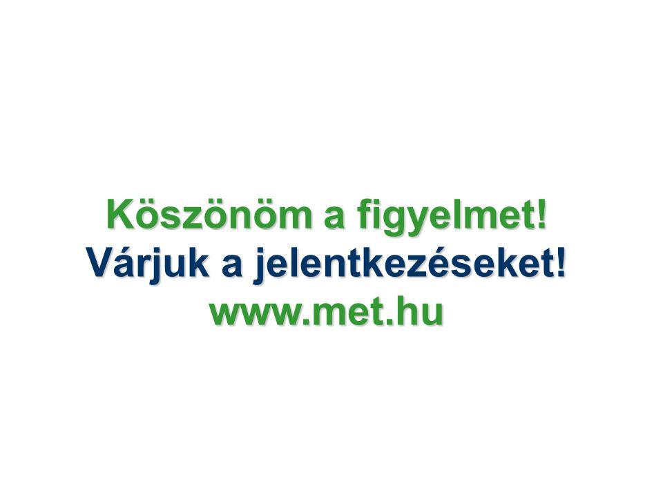 Köszönöm a figyelmet! Várjuk a jelentkezéseket! www.met.hu
