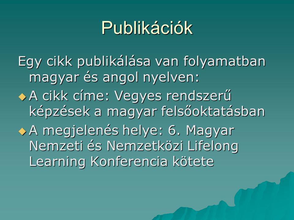 Publikációk Egy cikk publikálása van folyamatban magyar és angol nyelven:  A cikk címe: Vegyes rendszerű képzések a magyar felsőoktatásban  A megjel