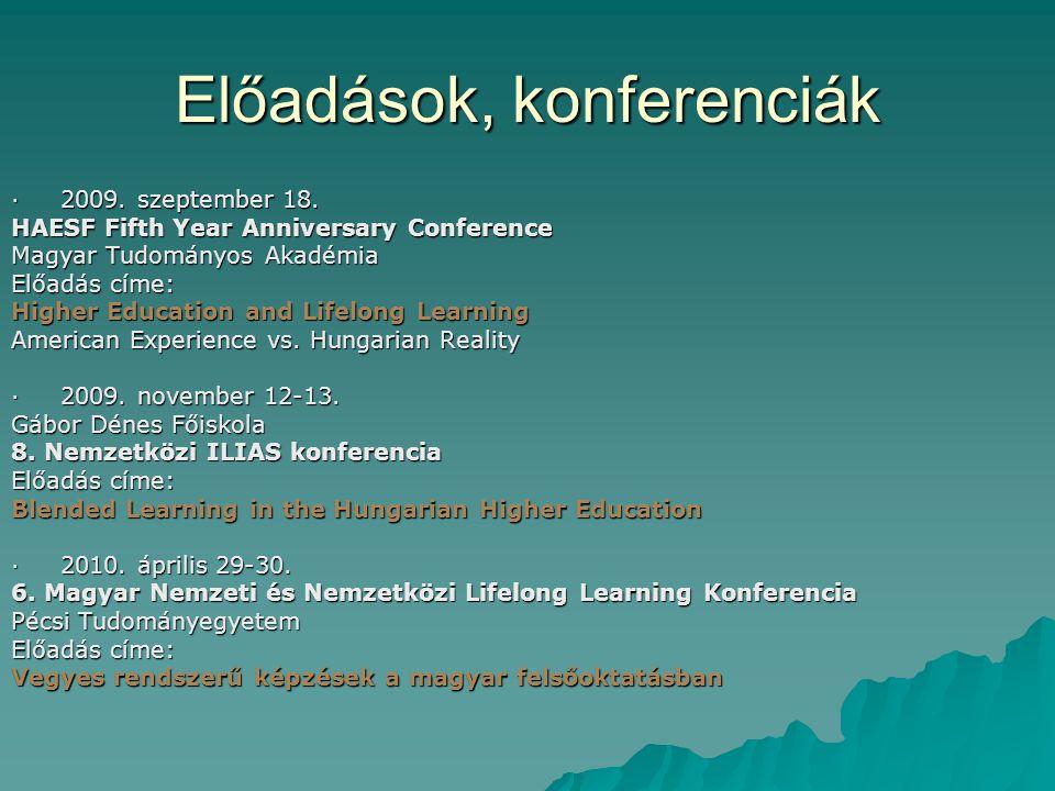 Előadások, konferenciák · 2009. szeptember 18. HAESF Fifth Year Anniversary Conference Magyar Tudományos Akadémia Előadás címe: Higher Education and L