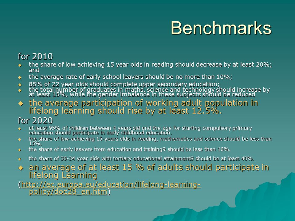 Benchmarks for 2010  the share of low achieving 15 year olds in reading should decrease by at least 20%; and  the average rate of early school leave