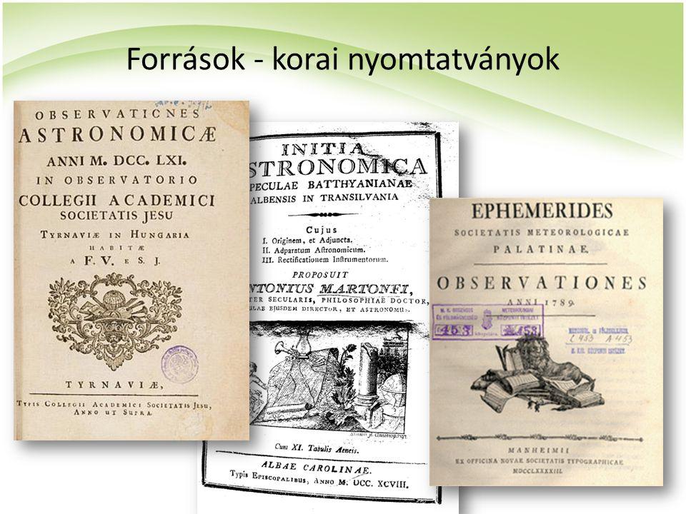 Források - korai nyomtatványok