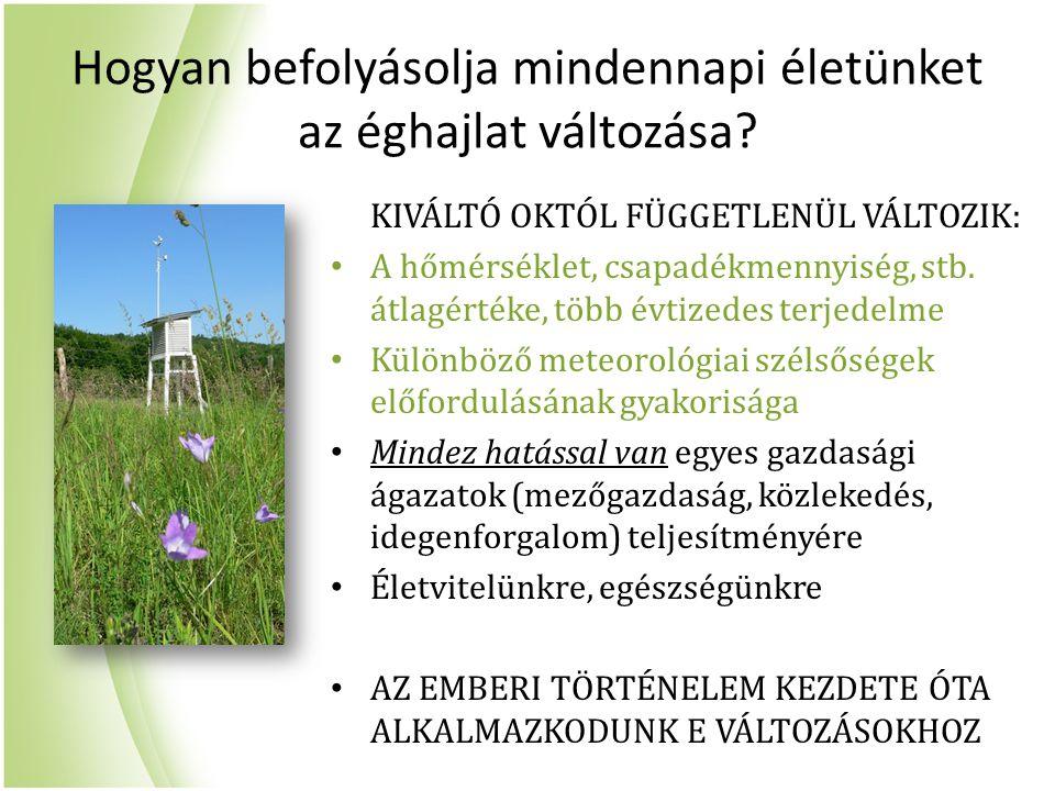 Magyarország éghajlattörténetének nyomában Réthly Antal életműve (1879-1975) Közvetett források nagy tömegben, emellett kis számú műszeres megfigyelés is Berkes Zoltán, Kakas József (~1946-66) Budapest hőmérsékleti idősora 1780-tól, néhány állomás az 1870-es évtizedtől 1960-ig Rácz Lajos (1990-es évektől) Az elmúlt évszázadok éghajlatváltozásainak rekonstrukciója Réthly életműve nyomán OMSZ napjainkbeli kutatásai csak az 1901 utáni időszakot vizsgálták Szentimrey Tamás, Szalai Sándor (2001) Domonkos Péter, Tar Károly (2003)