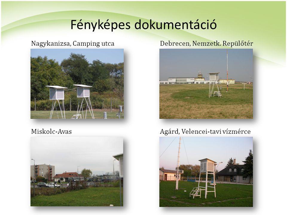 Fényképes dokumentáció Nagykanizsa, Camping utca Miskolc-AvasAgárd, Velencei-tavi vízmérce Debrecen, Nemzetk. Repülőtér