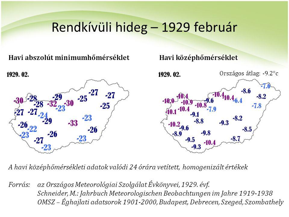 Rendkívüli hideg – 1929 február A havi középhőmérsékleti adatok valódi 24 órára vetített, homogenizált értékek Forrás:az Országos Meteorológiai Szolgá
