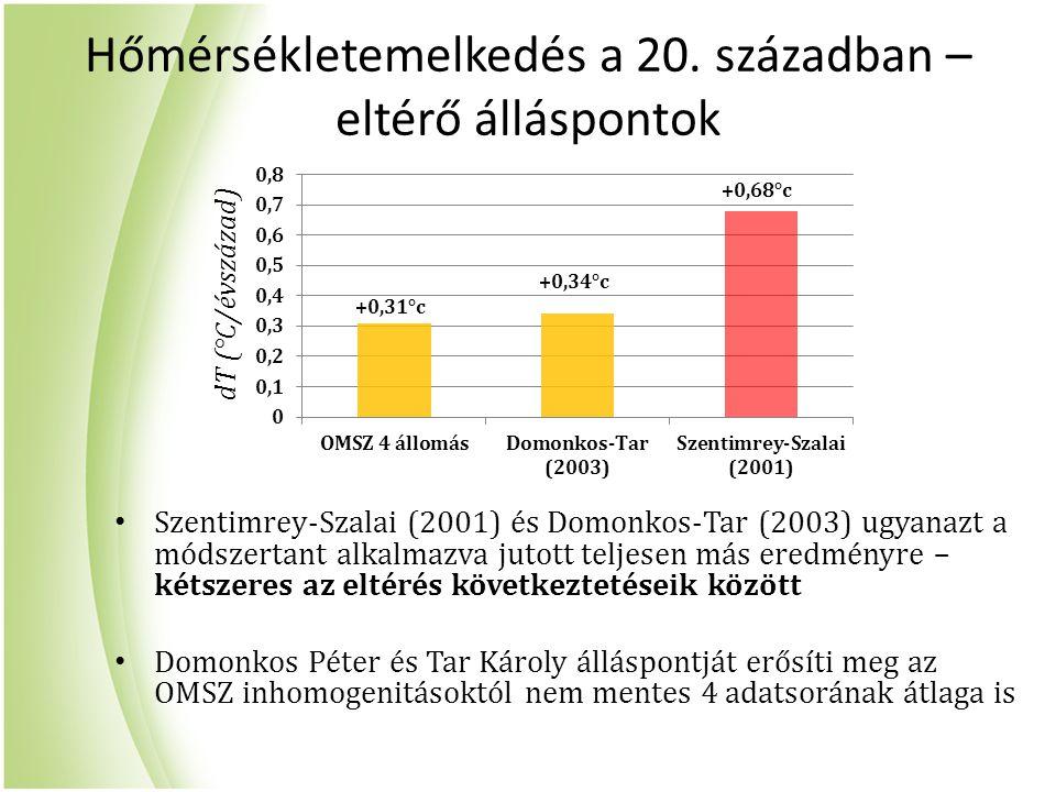 Hőmérsékletemelkedés a 20. században – eltérő álláspontok Szentimrey-Szalai (2001) és Domonkos-Tar (2003) ugyanazt a módszertant alkalmazva jutott tel