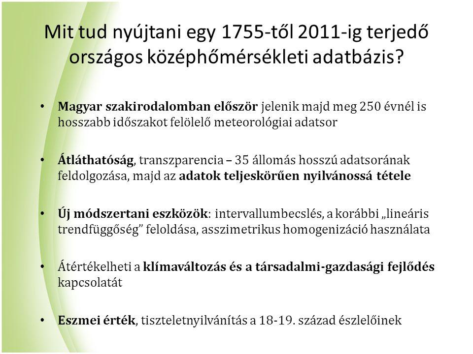 Mit tud nyújtani egy 1755-től 2011-ig terjedő országos középhőmérsékleti adatbázis? Magyar szakirodalomban először jelenik majd meg 250 évnél is hossz